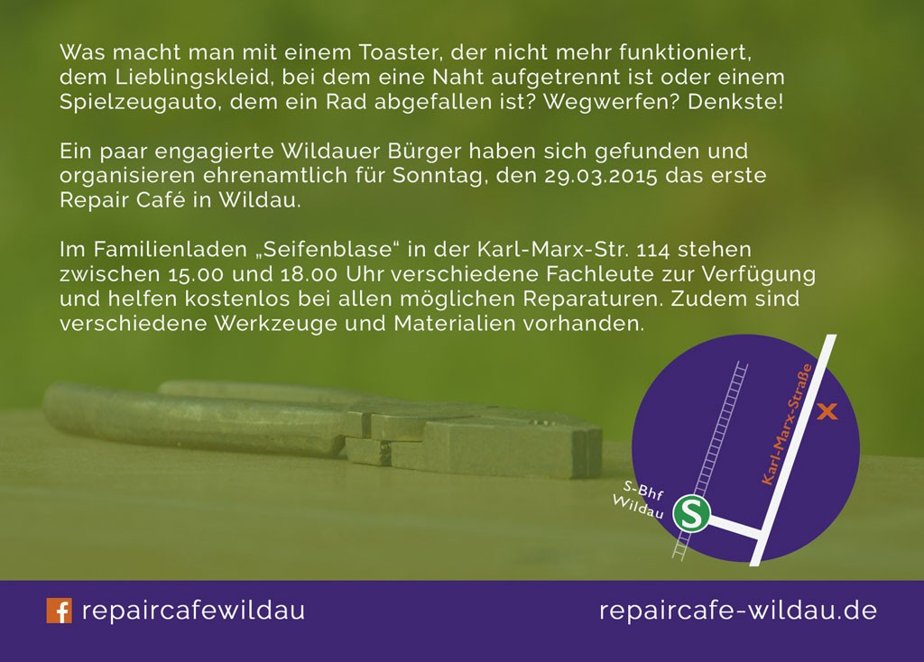 Repair Cafe Wildau Flyer hinten
