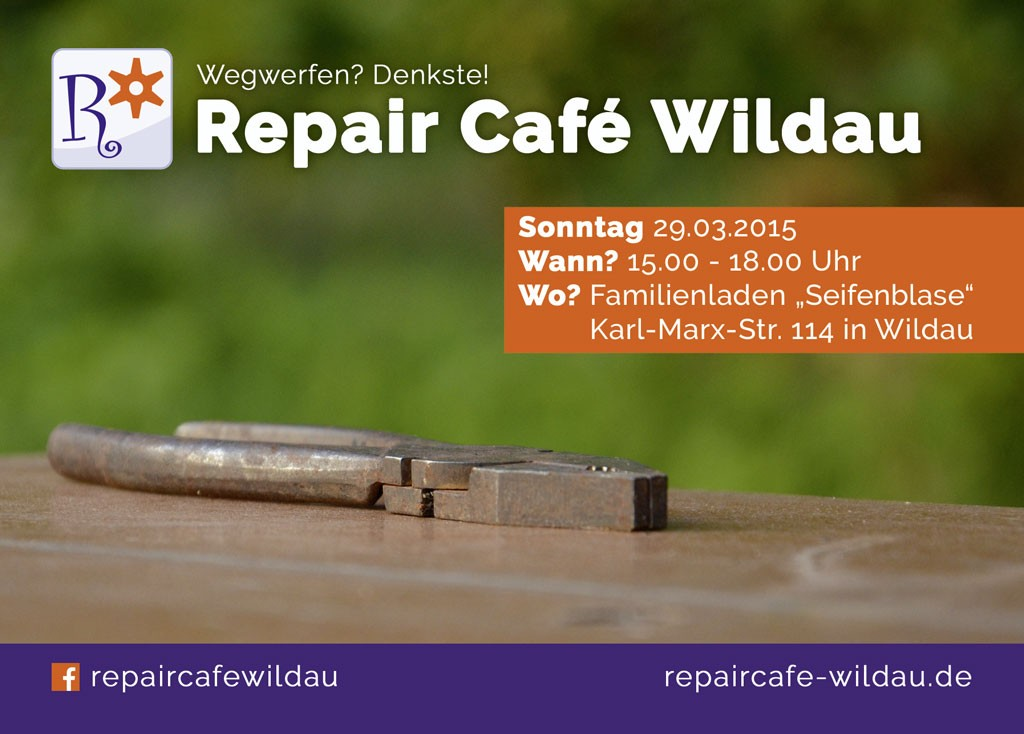 Repair Cafe Wildau Flyer vorn