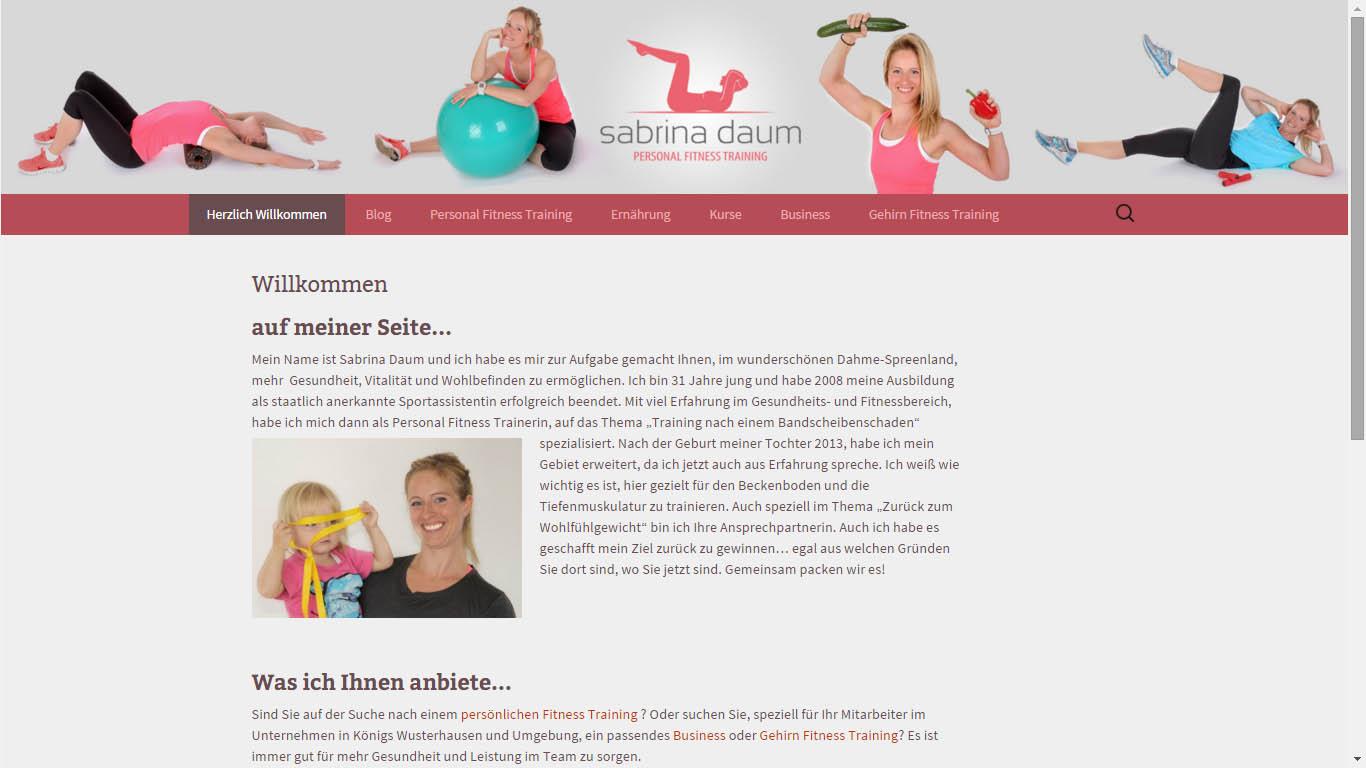 Sabrina Daum Personal Fitness KW Webseite